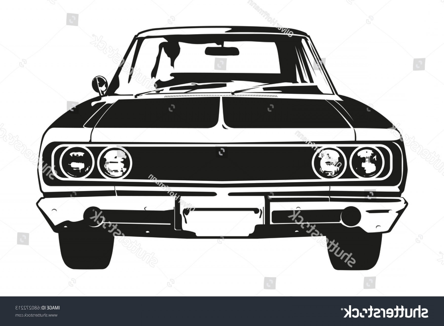 Muscle Car Silhouette Vector High Res: Front View Vector Silhouette Vintage American