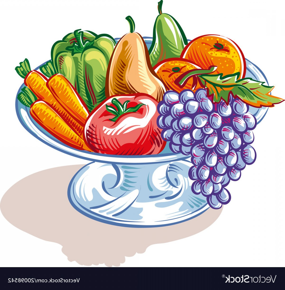 Vector Fruit Vegetable: Fruit Bowl With Fruit And Vegetables Vector