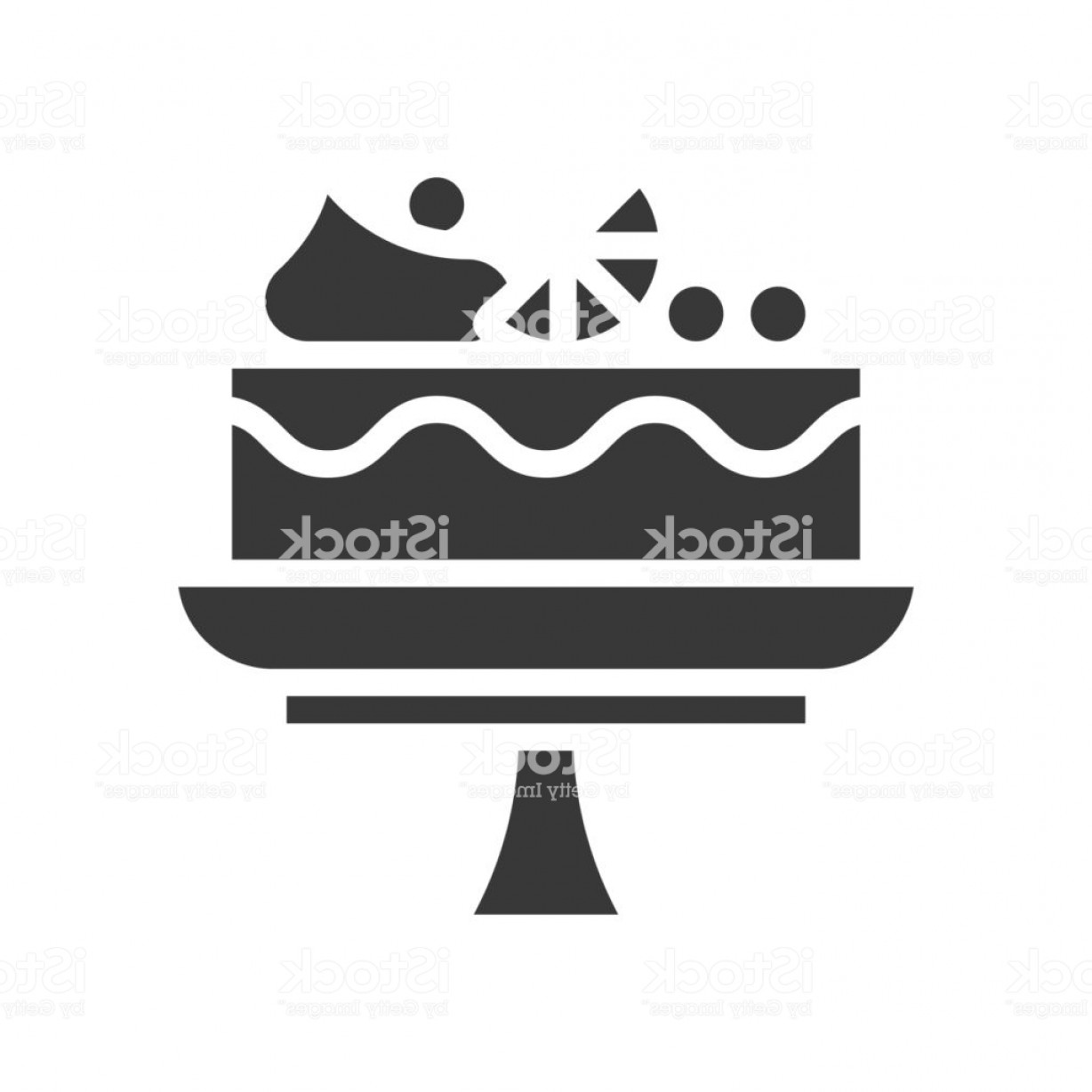 Cake Stand Vector: Fruit Cake On Cake Stand Bakery And Pastry Set Glyph Icon Gm