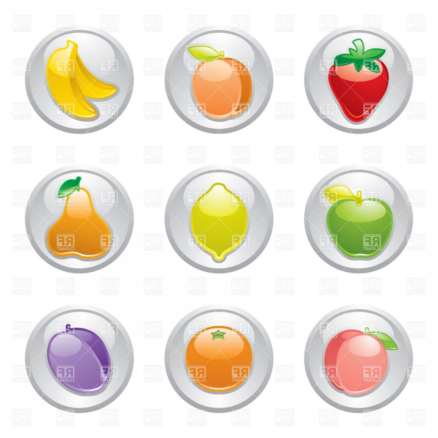 Buttons Vector Art: Fruit Icons On Gray Buttons Vector Clipart