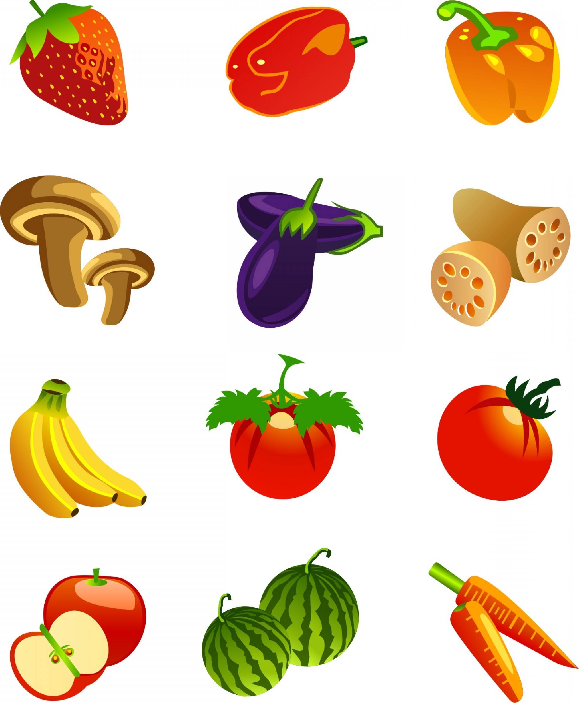 Icon Of Flower Vectors: Fruits And Vegetables Motor Flower Icon Vector