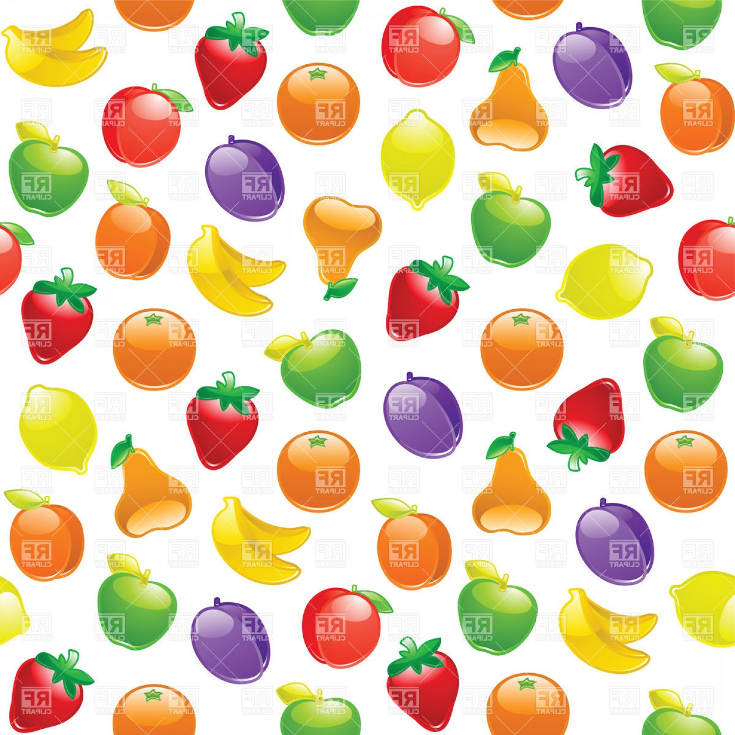 Vector Background Clip Art: Fruits Background Seamless Pattern Vector Clipart