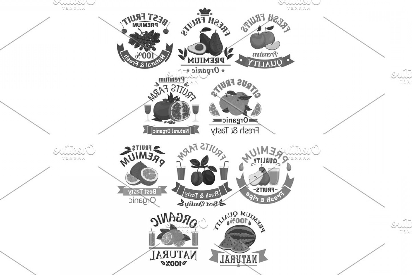 Juice Vector Black: Fruits Icons For Farm Store Or Juice Vector Label
