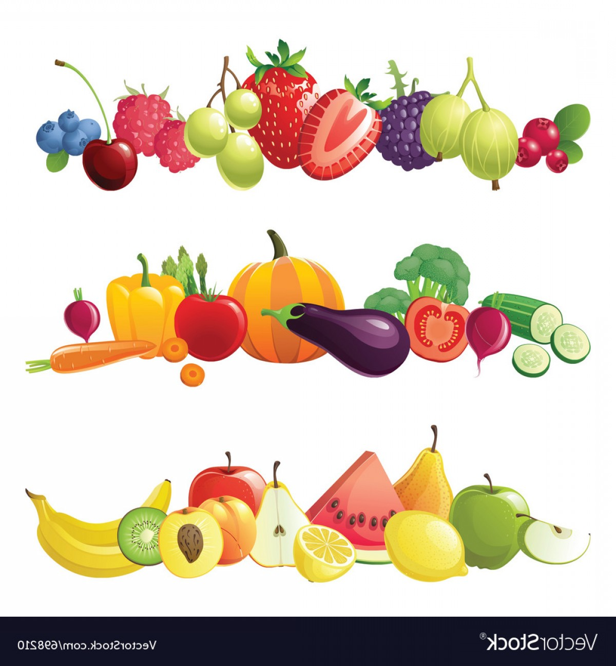Vector Fruit Vegetable: Fruits Vegetables And Berries Borders Vector