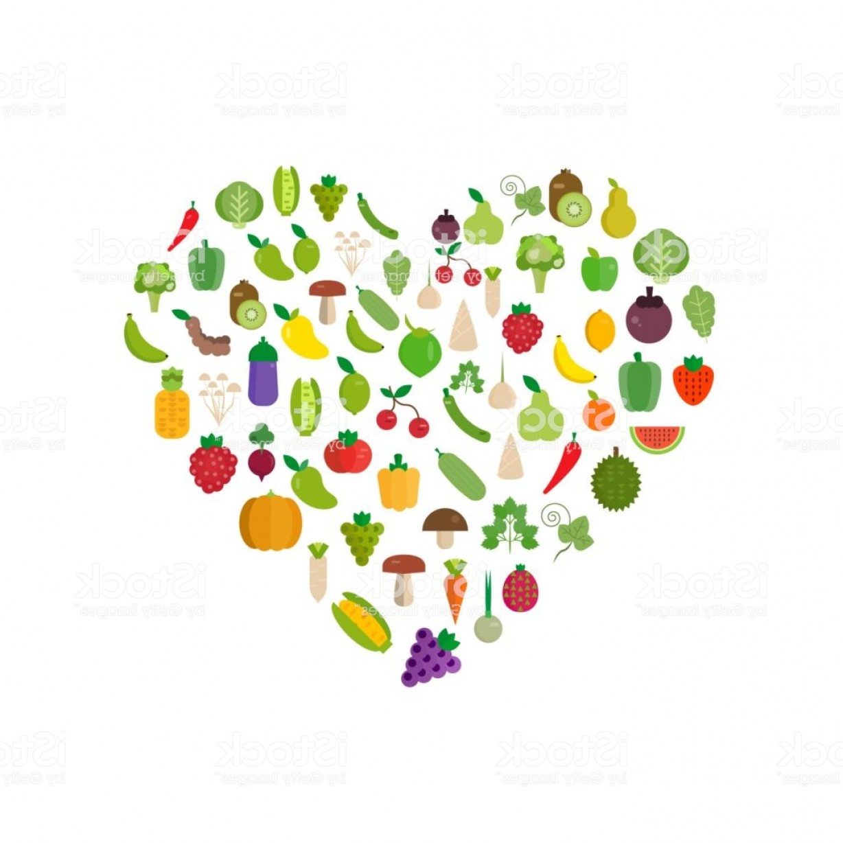 Vector Fruit Vegetable: Fruits Vegetables Organic Flat Vector Illustration Set Gm