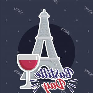 Simple Eiffel Tower Vector Graphic: France Culture Card With Eiffel Tower Vector Illustration Design Image