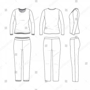 Sweatpants Vector: Front Back Side Views Womens Clothing