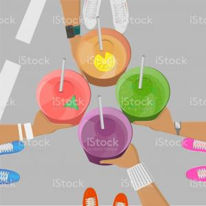 Vector Fruit Shake: Fruit Smoothie Cartoon Vector
