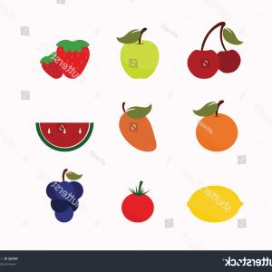Vector Fruit Vegetable: Fruits Vegetables Icons White Background Vector