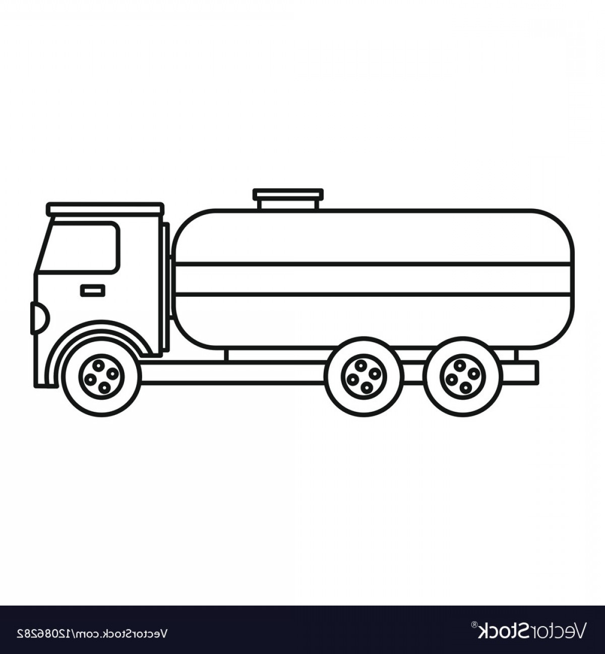 Tank Trucks Vector Art: Fuel Tanker Truck Icon Outline Style Vector