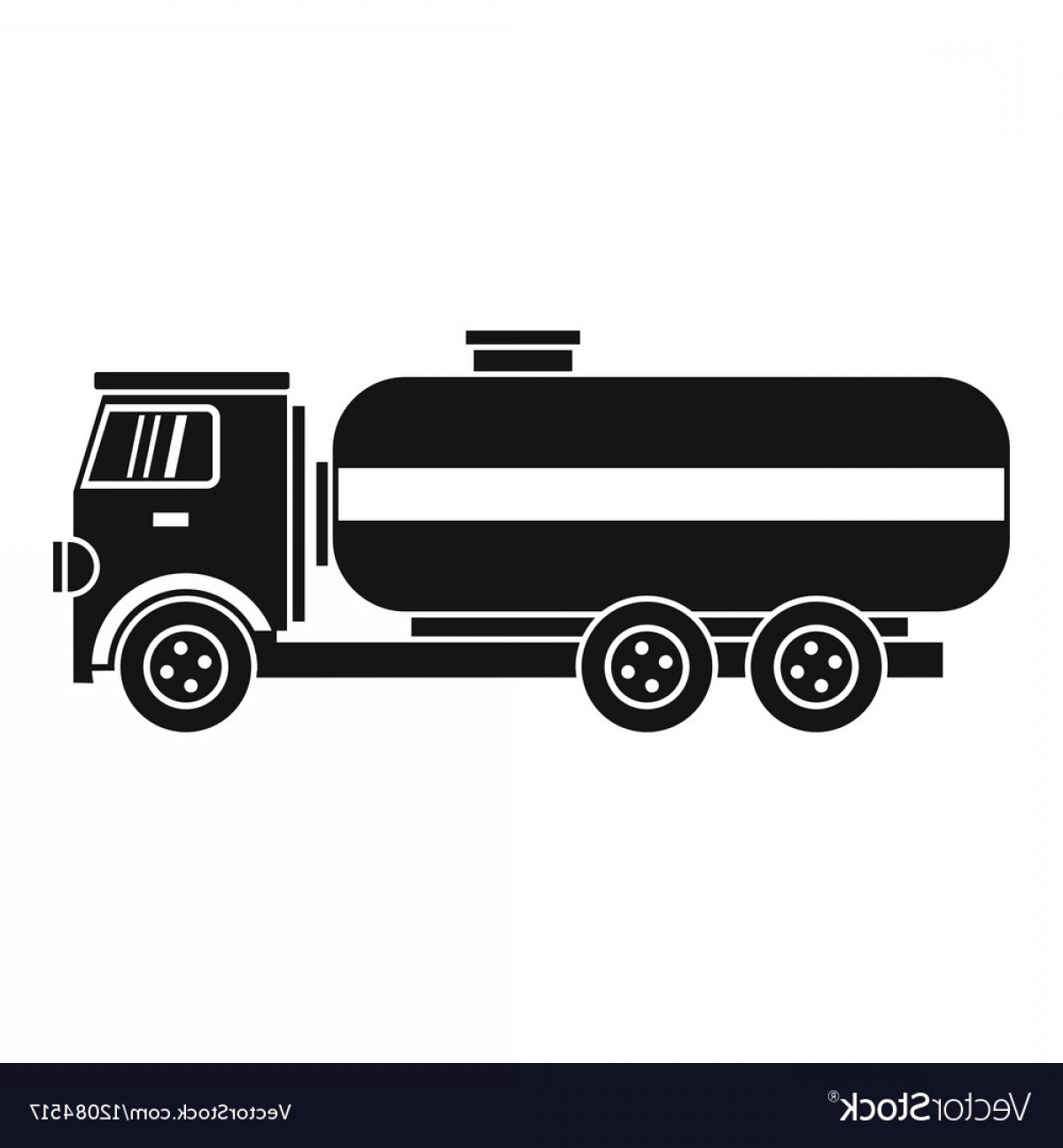 Tank Trucks Vector Art: Fuel Tanker Truck Icon Simple Style Vector