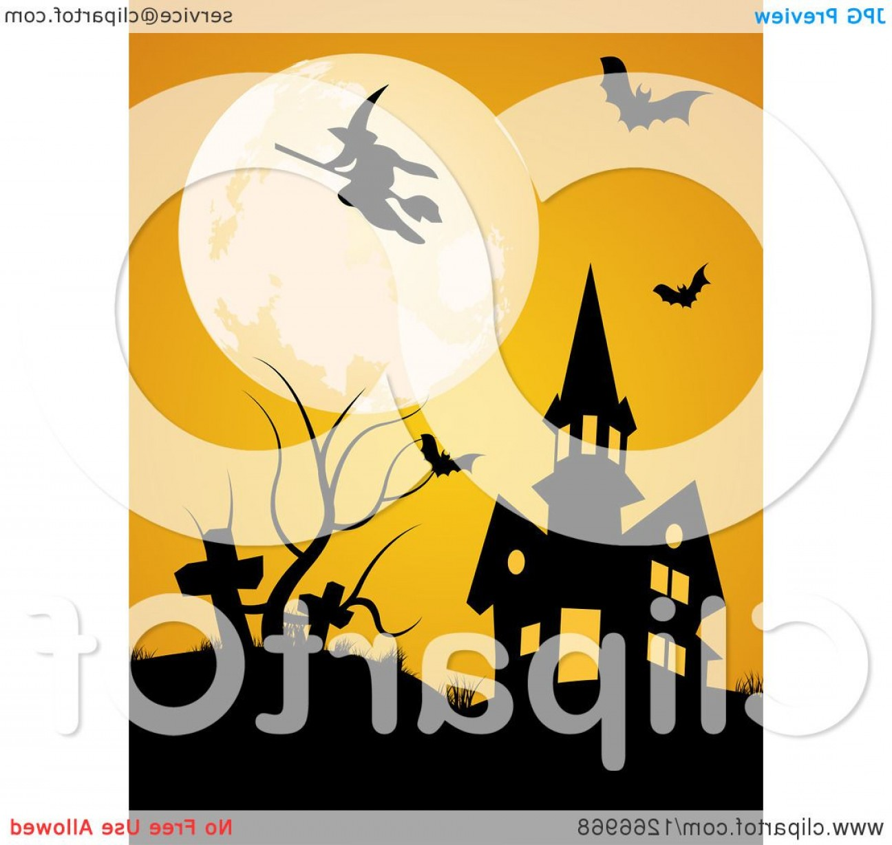 Vector Halloween Silhouettes Pumpkin With Glases: Full Moon With A Witch  And Bats Over A