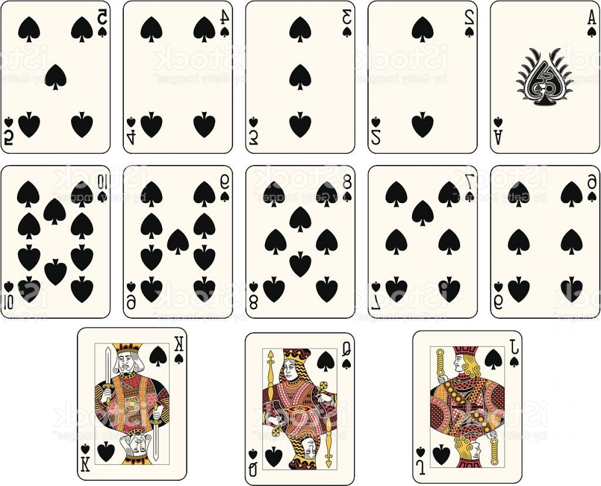10 Playing Card Vector: Full Spade Suit Off A Playing Card Deck Gm