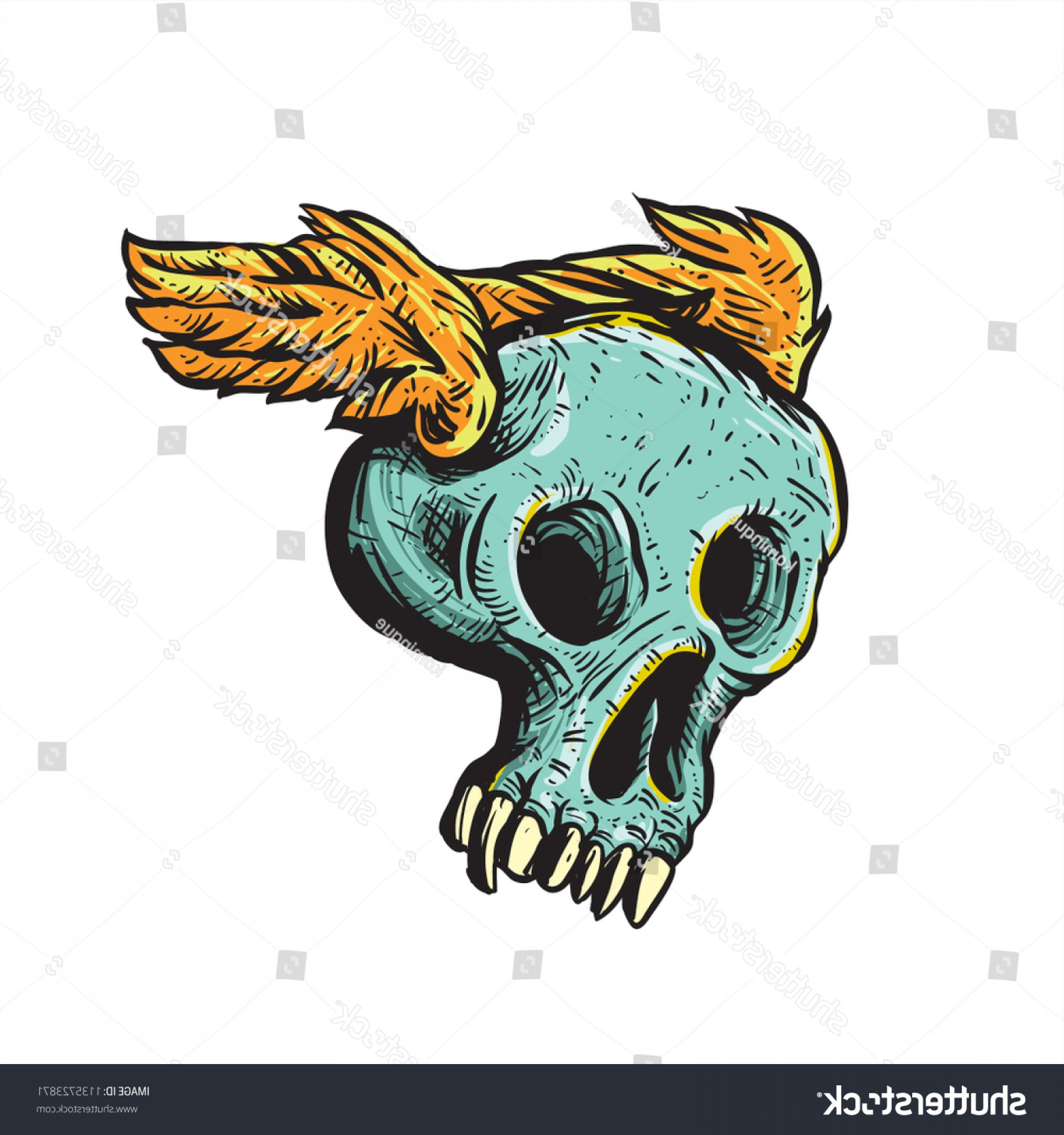 Flying Skull Vector: Fun Flying Skull Wings Drawing Illustration