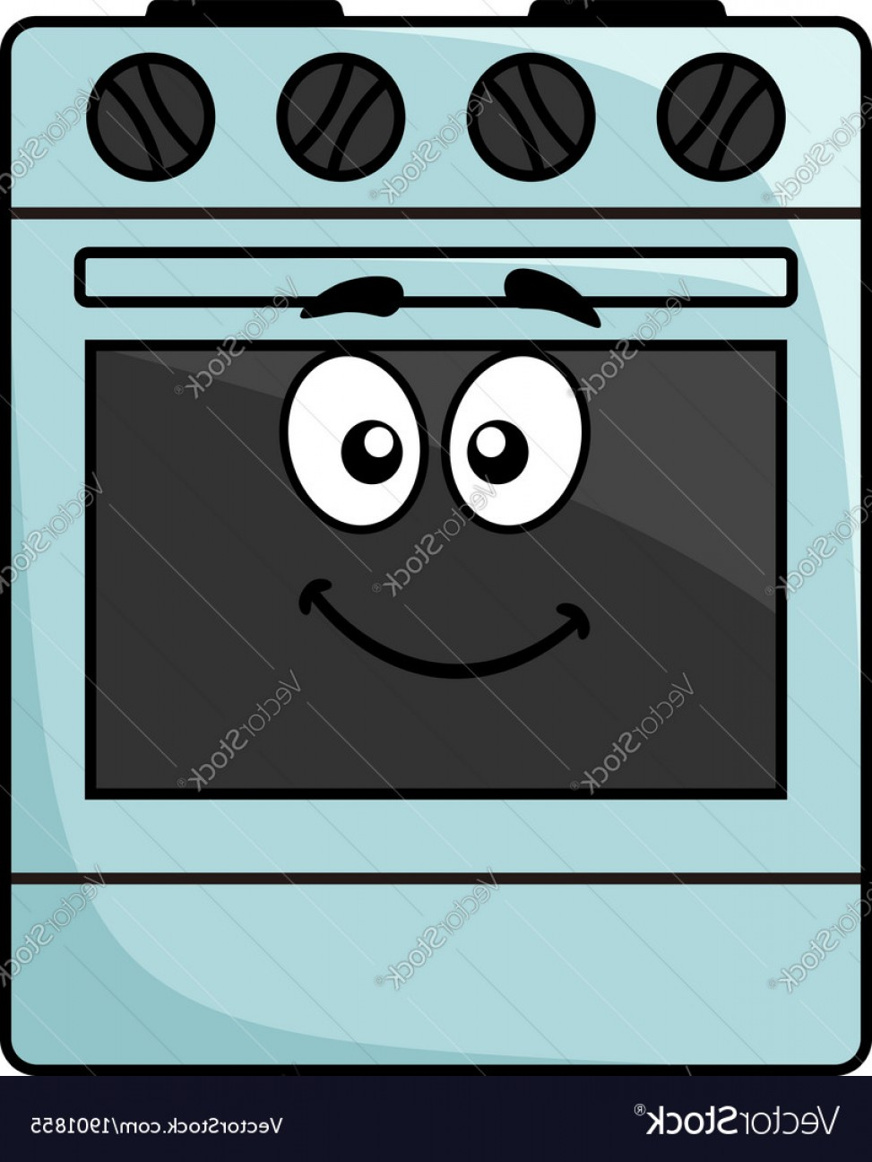Happy Oven Vector: Fun Kitchen Appliance A Happy Oven Vector