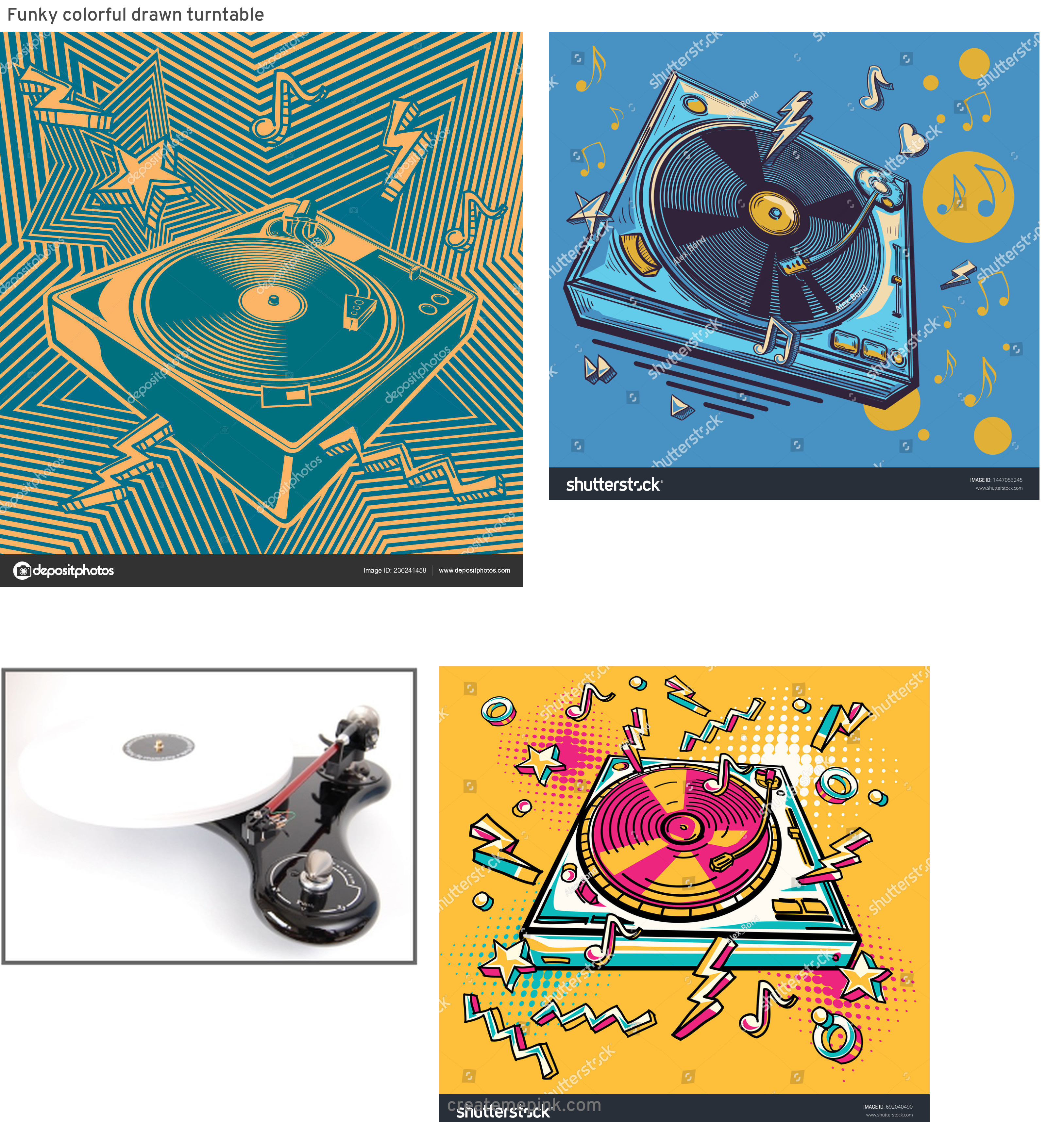 Funk Vector Turntables: Funky Colorful Drawn Turntable