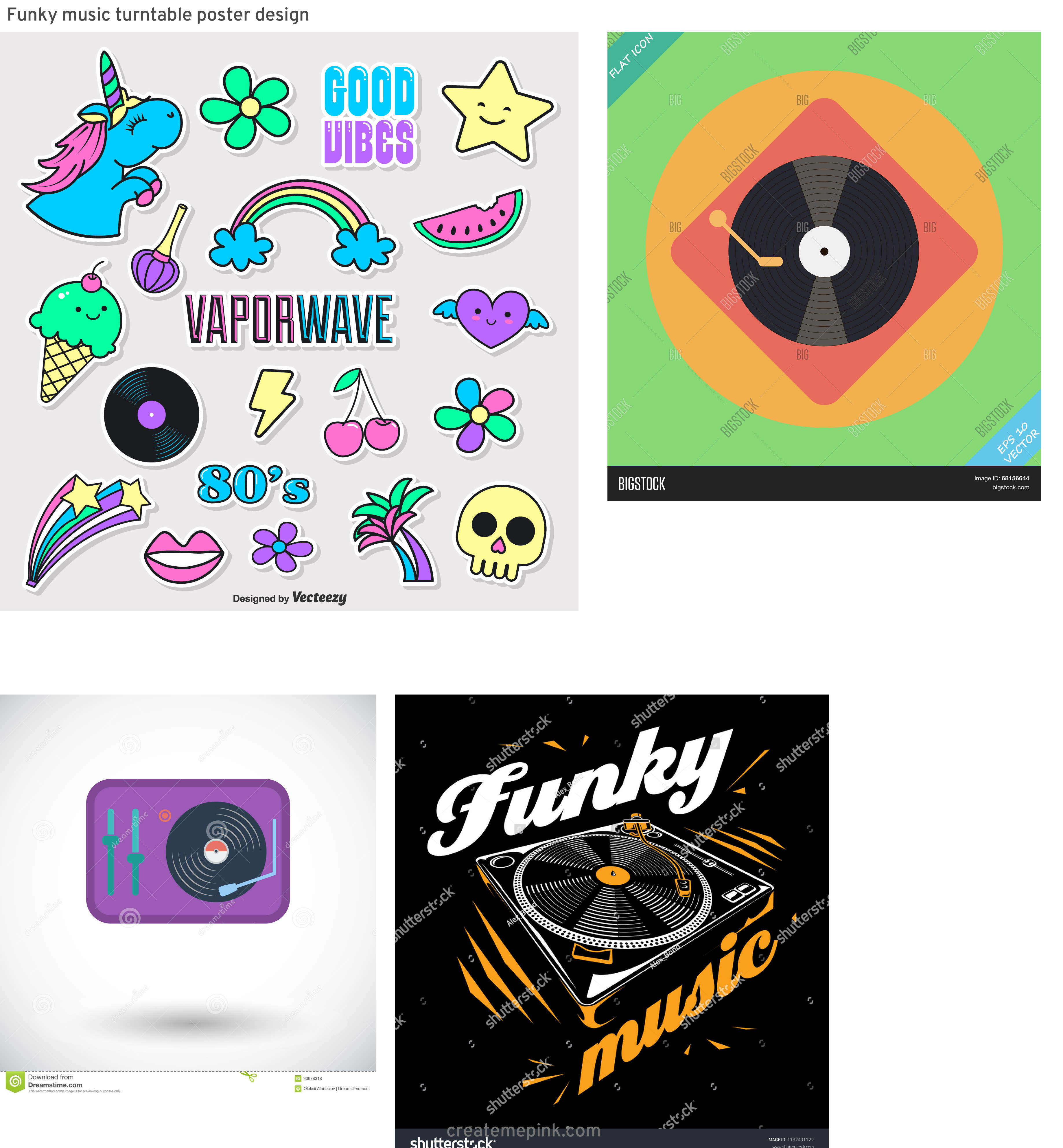 Funk Vector Turntables: Funky Music Turntable Poster Design