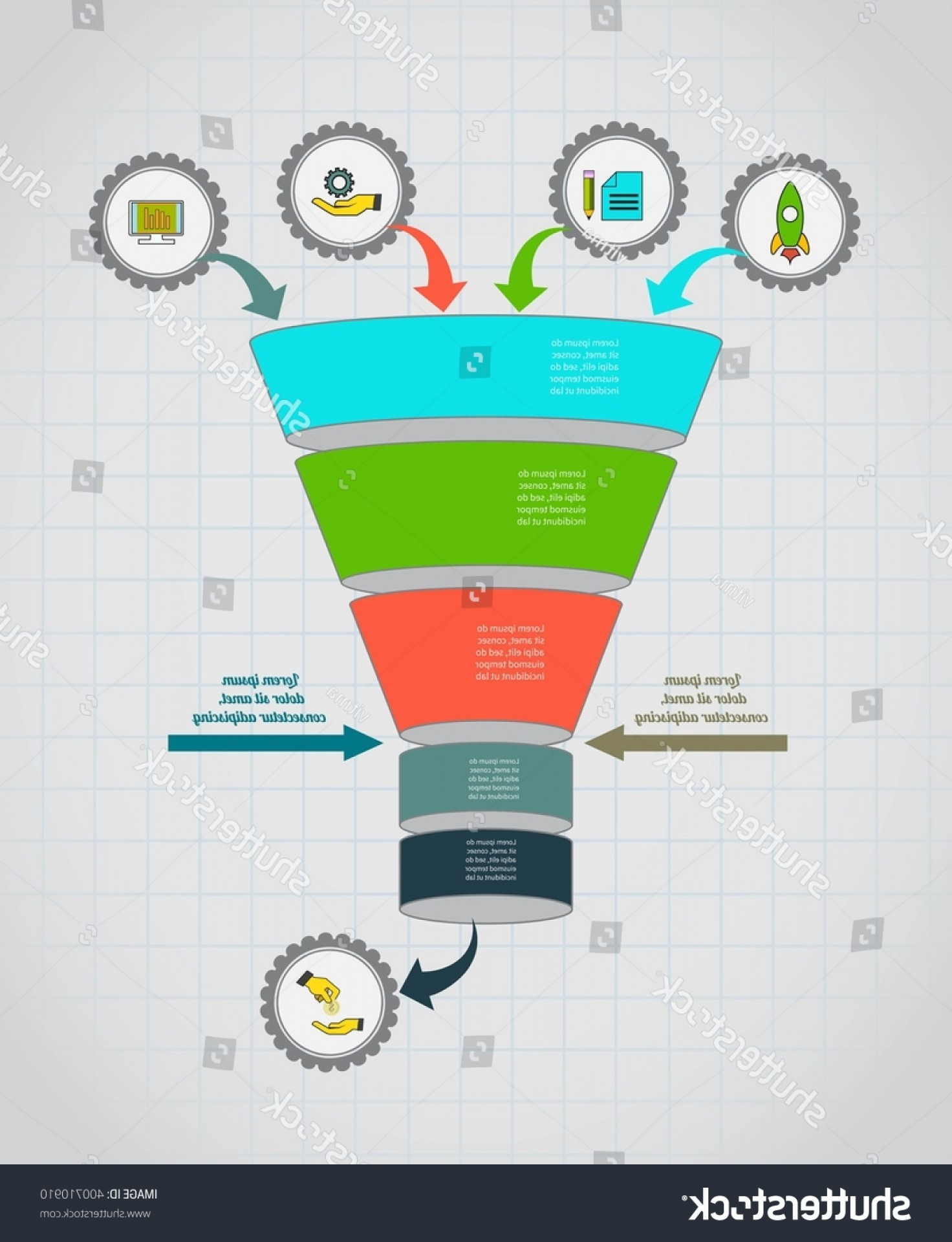 Vector Funnel Infographic: Funnel Flow Chart Infographic Template Design