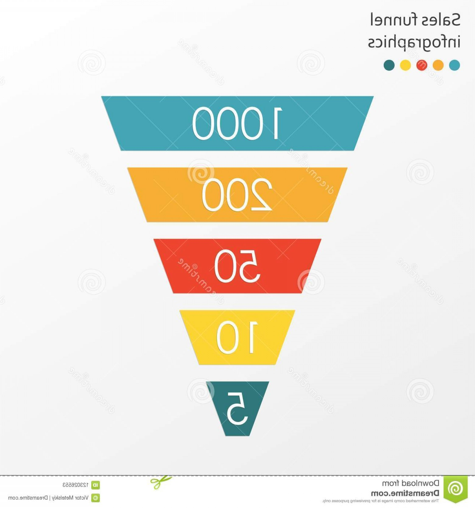 Vector Funnel Infographic: Funnel Infographics Template Marketing Sales Flat Design Vector Illustration Image