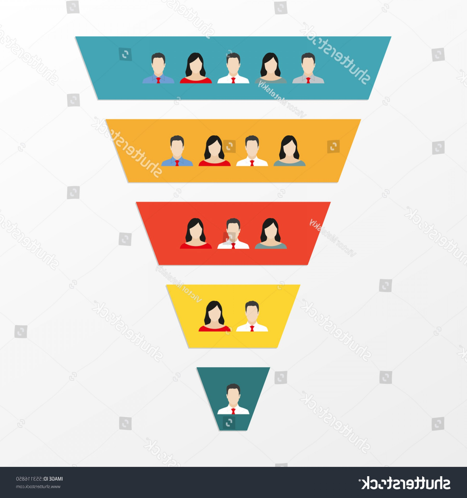 Vector Funnel Infographic: Funnel Infographics Template People Icons Customers