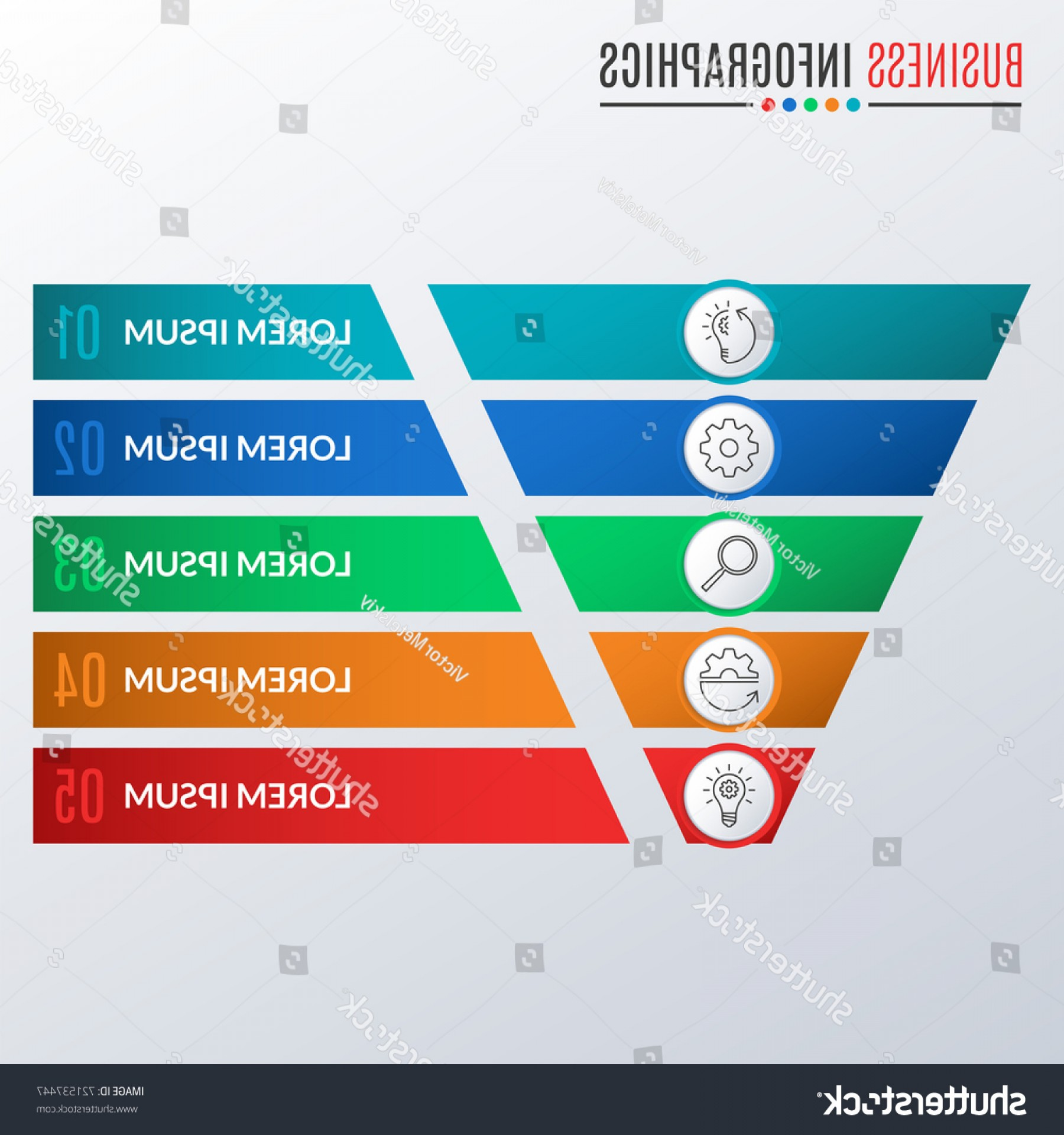 Vector Funnel Infographic: Funnel Symbol Cone Infographics Template Business