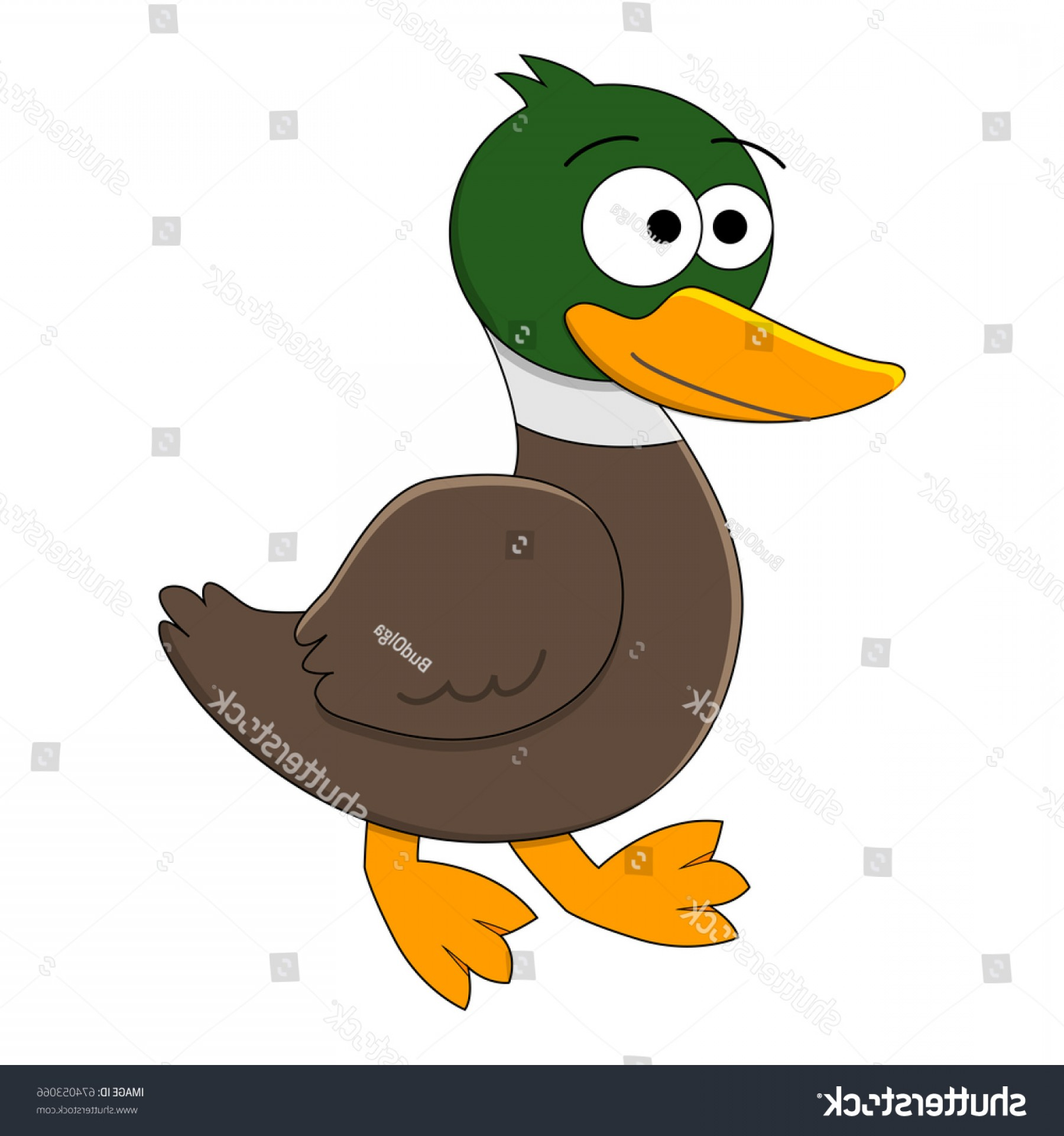 Cartoon Duck Vector: Funny Cartoon Duck Vector Insect Illustration