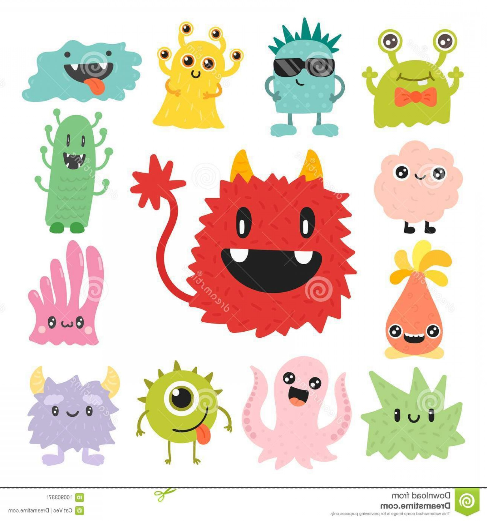 Vector Organisms On A Person: Funny Cartoon Monster Cute Alien Character Creature Happy Illustration Devil Colorful Animal Vector Halloween Cool Gesture Image
