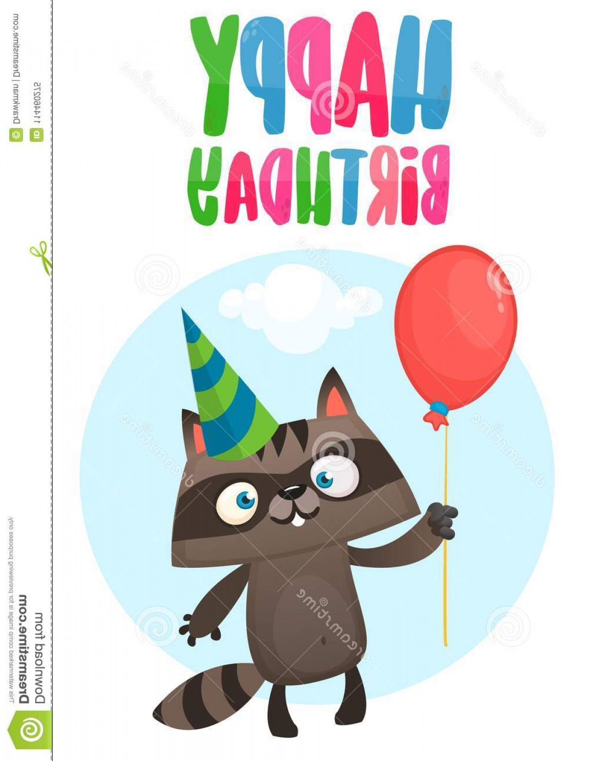 Teal Birthday Hat Vector: Funny Cartoon Raccoon Holding Red Balloon Wearing Birthday Party Hat Vector Illustration Birthday Postcard Design Print Image