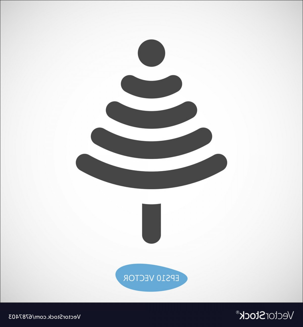 Vector-Based Christmas: Funny Christmas Tree Icon Based On Wireless Symbol Vector