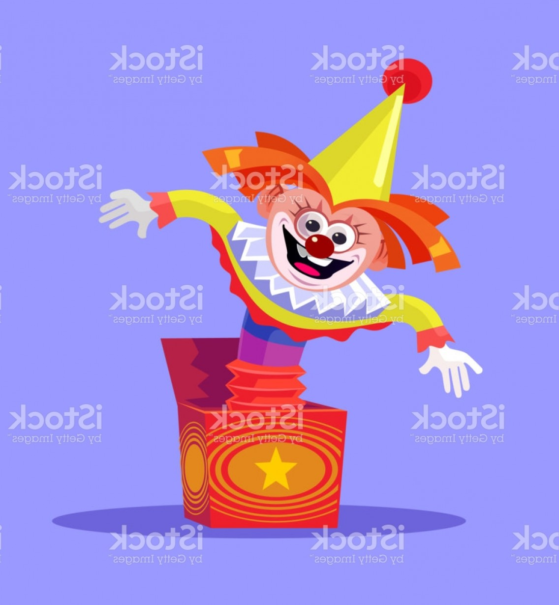 Joker Smile Vector Art: Funny Comic Smiling Clown Joker Jack Toy Jumping In Box Gm