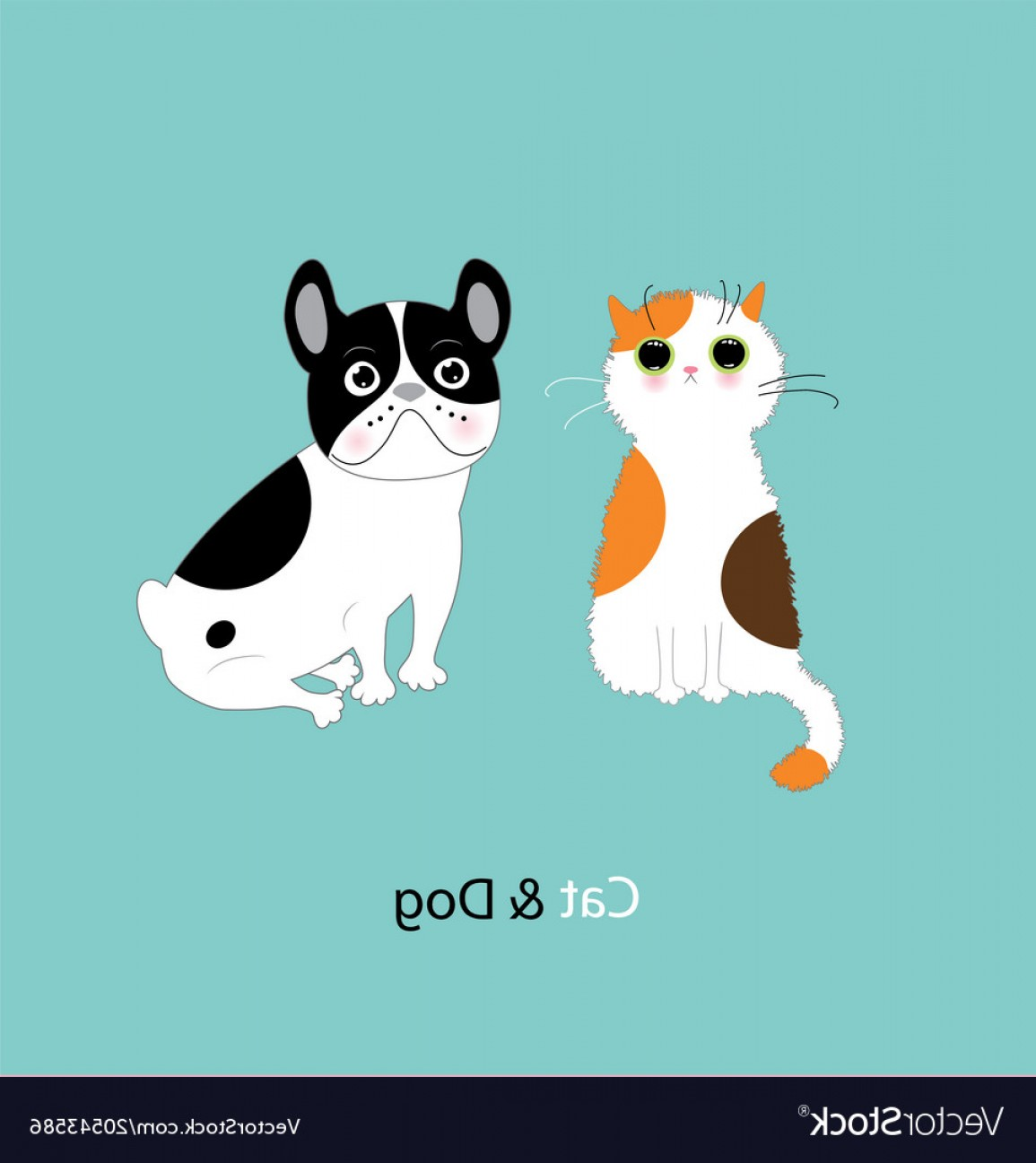 Dog And Cat Vector Illustration: Funny Dog And Cat Vector