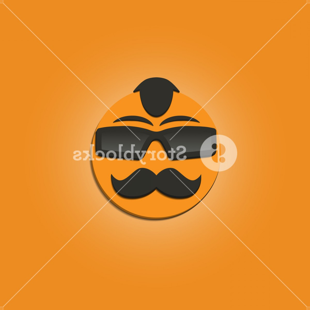 Mustache Face Vector: Funny Face With A Mustache And Sunglasses On Yellow Background Vector Illustrations Sqybgjgfgsl