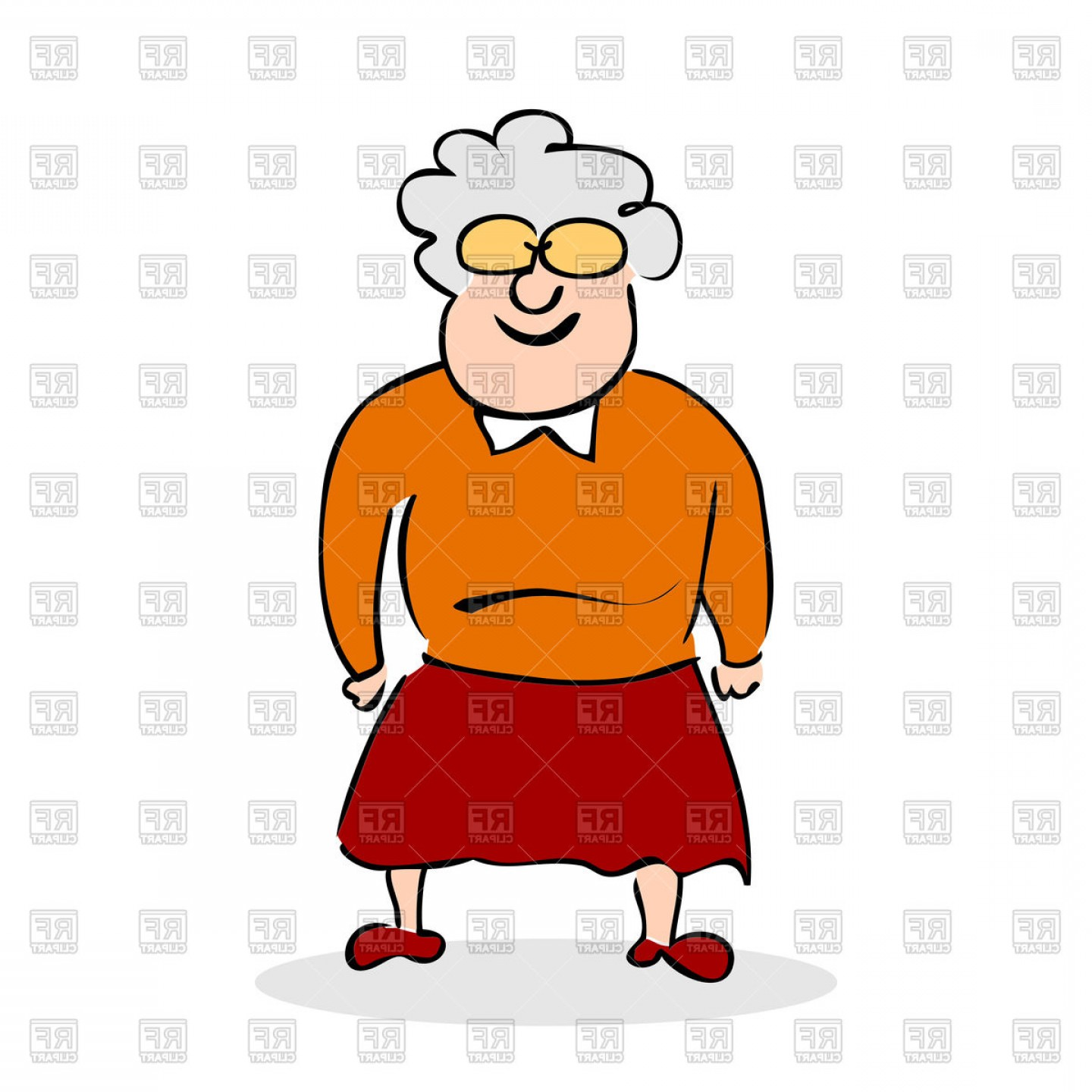 Artwork Vector File: Funny Grandmother Standing Vector Clipart