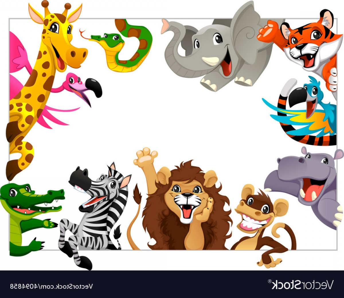 Jungle Animals Clip Art Vector: Funny Group Of Jungle Animals Vector
