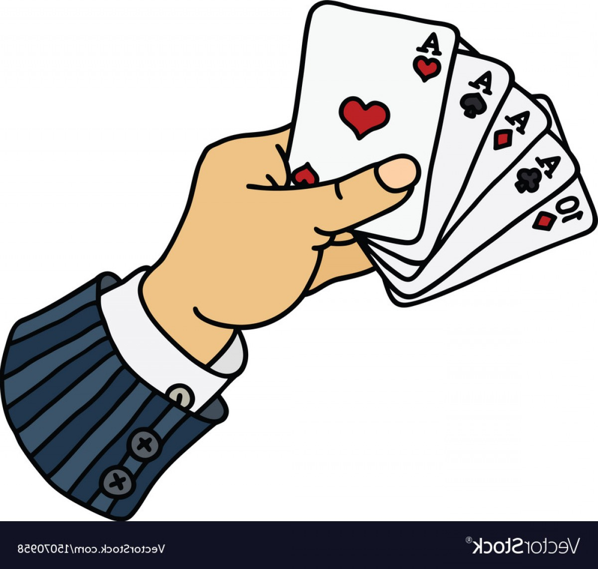 Poker Hand Vector: Funny Poker Cards In Hand Vector