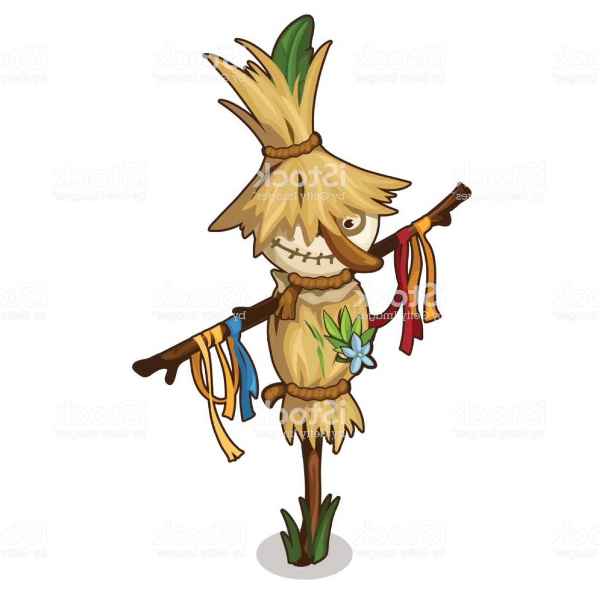Scarecrow Vector Art: Funny Scarecrow In A Straw Hat In Cartoon Style Gm