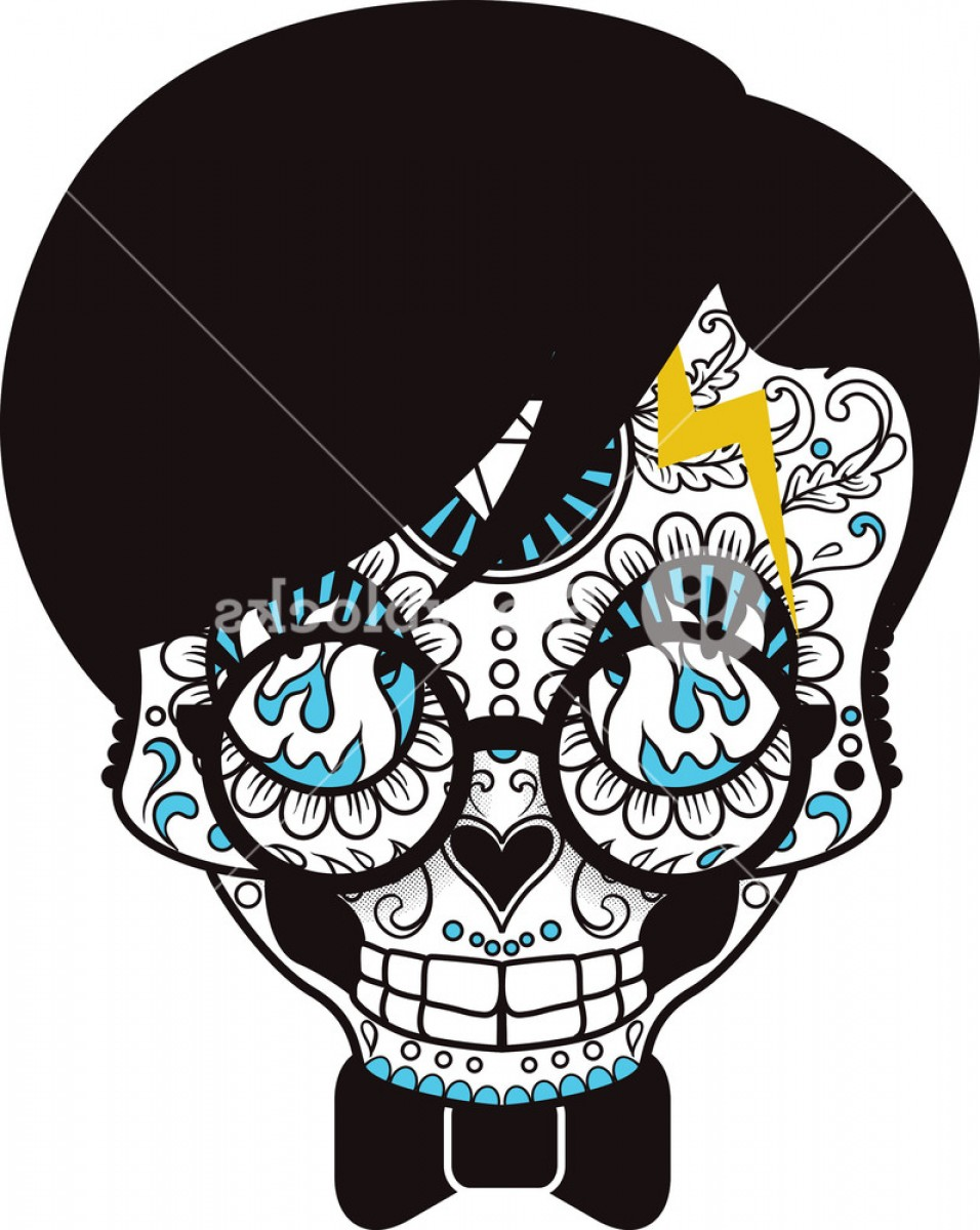 Skull Vector T-shirt Illustration: Funny Sugar Skull Vector T Shirt Design Spgtulhdzjgoov