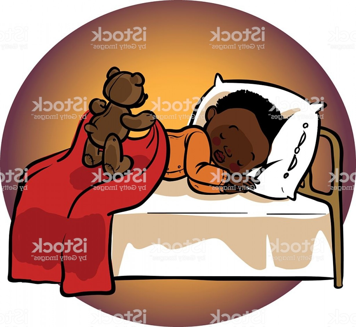 Sleeping Baby Vector: Funny Vector Cartoon Sleeping Baby Gm