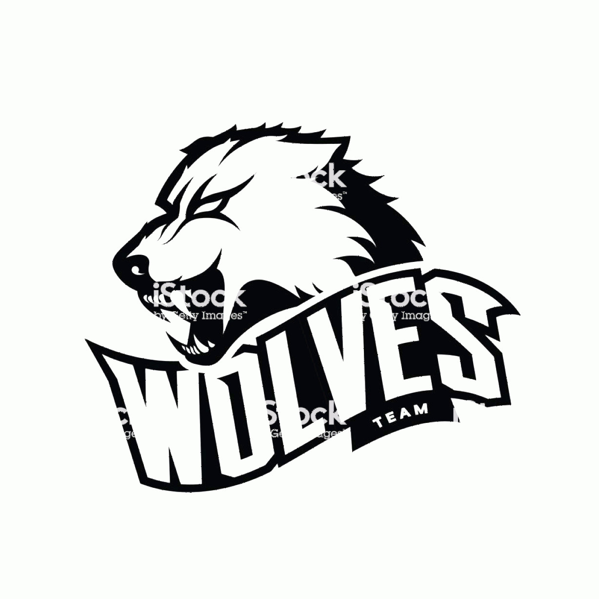 Wolf Vector Logo: Furious Wolf Sport Mono Vector Logo Concept Isolated On White Background Gm