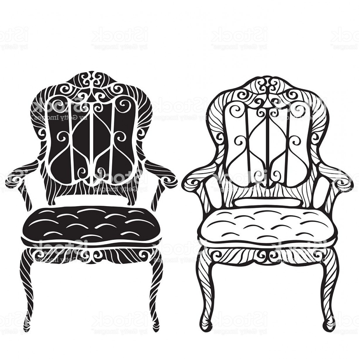 Vector Vintage Chair: Furniture Hand Drawn Set Vintage Chair Armchair Gm