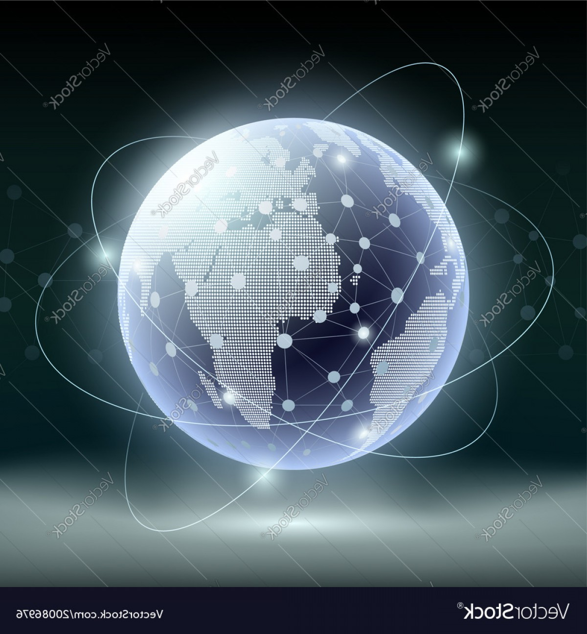 Abstract Vector Art Globe TV: Futuristic Technology Background Planet Earth And Vector