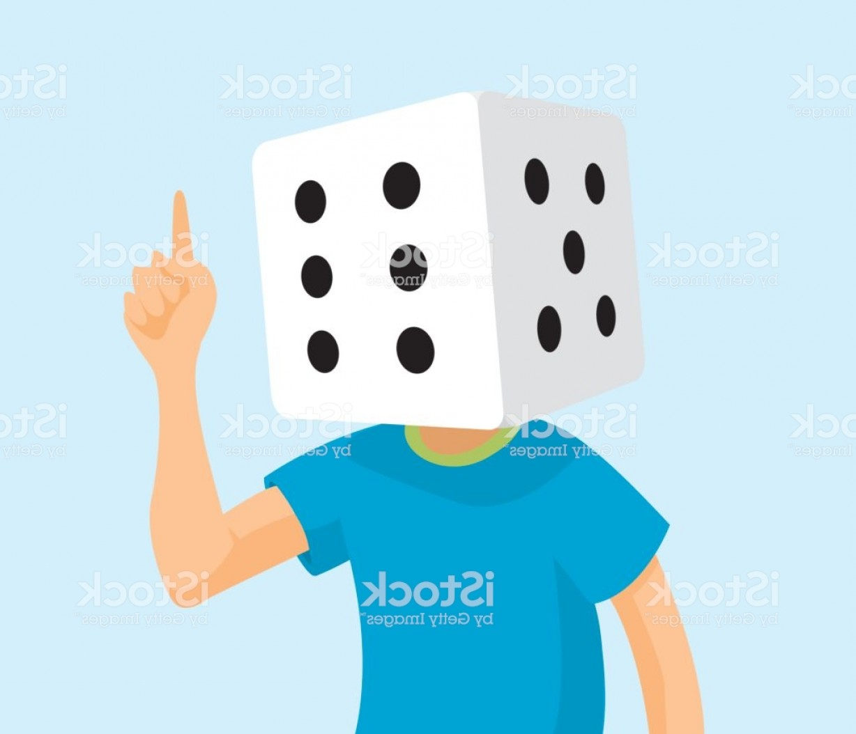 Gambler Vector Art Images: Gambler Dice Head With Game Thoughts Gm