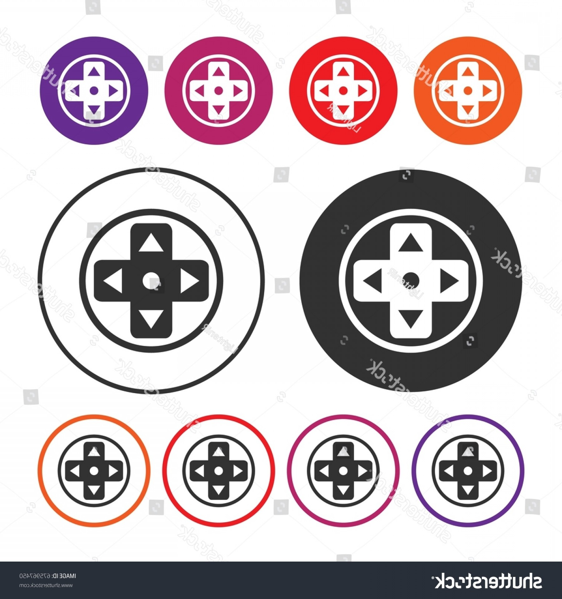 Button Icon Vector: Game Controller Button Icon Joystick Vector