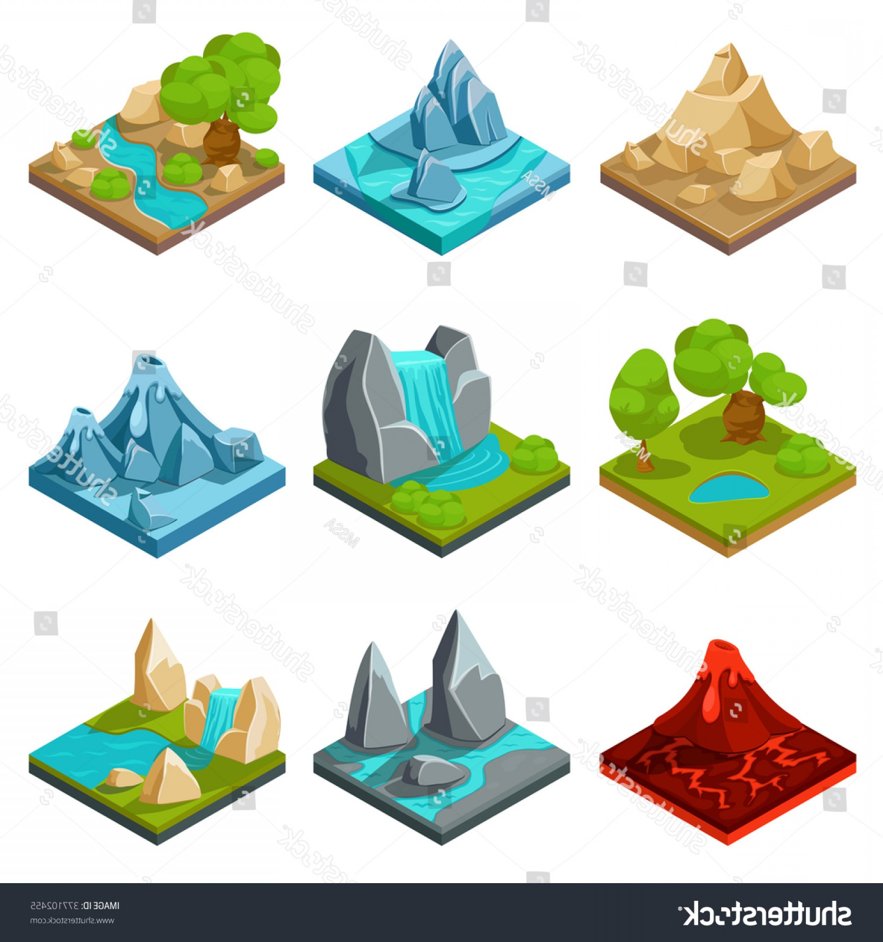 Vector Stone Landscaping: Game Ground Items Nature Stone Landscape