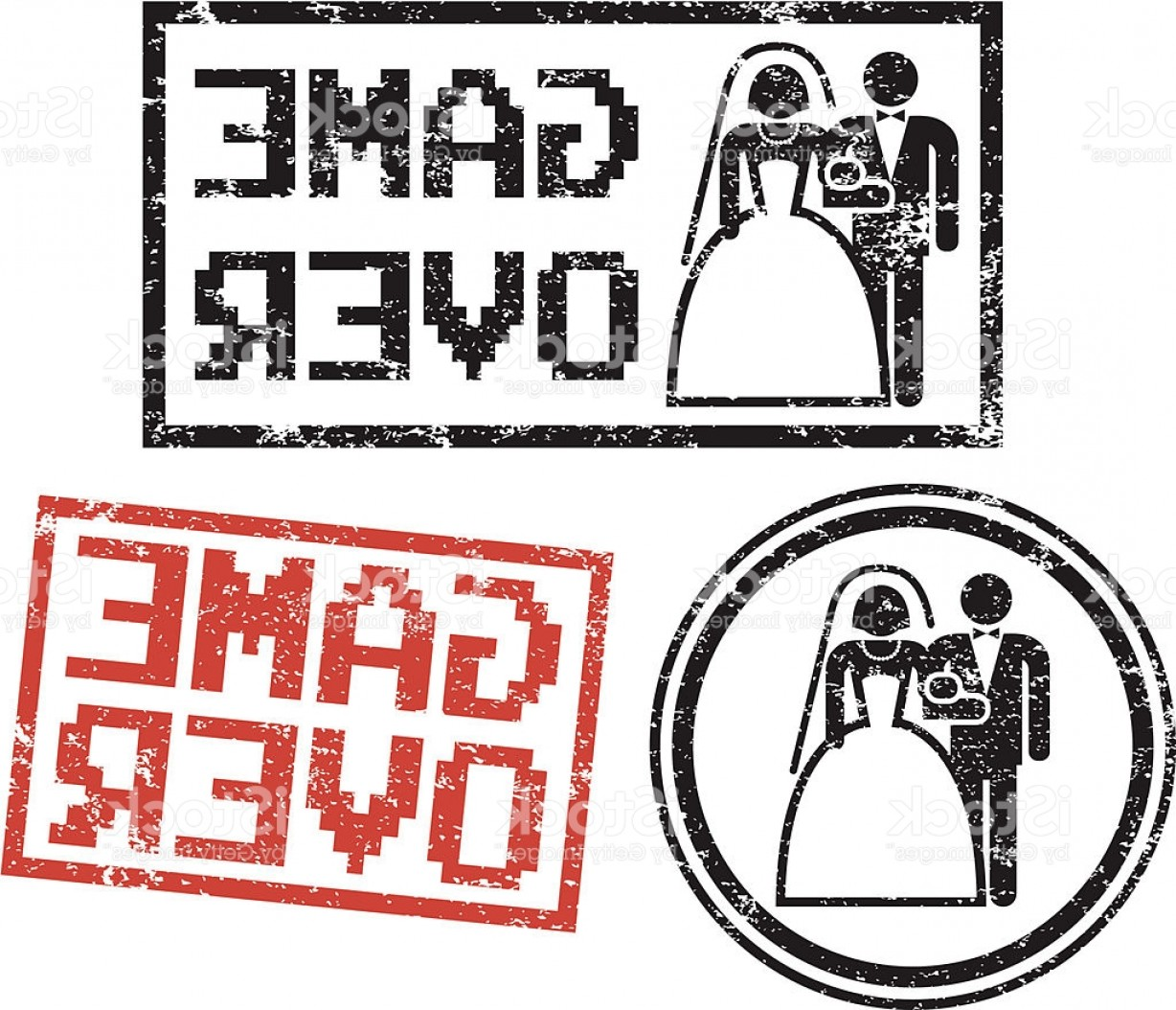 Married In Vegas Vector Art: Game Over Wedding Rubber Stamps Gm