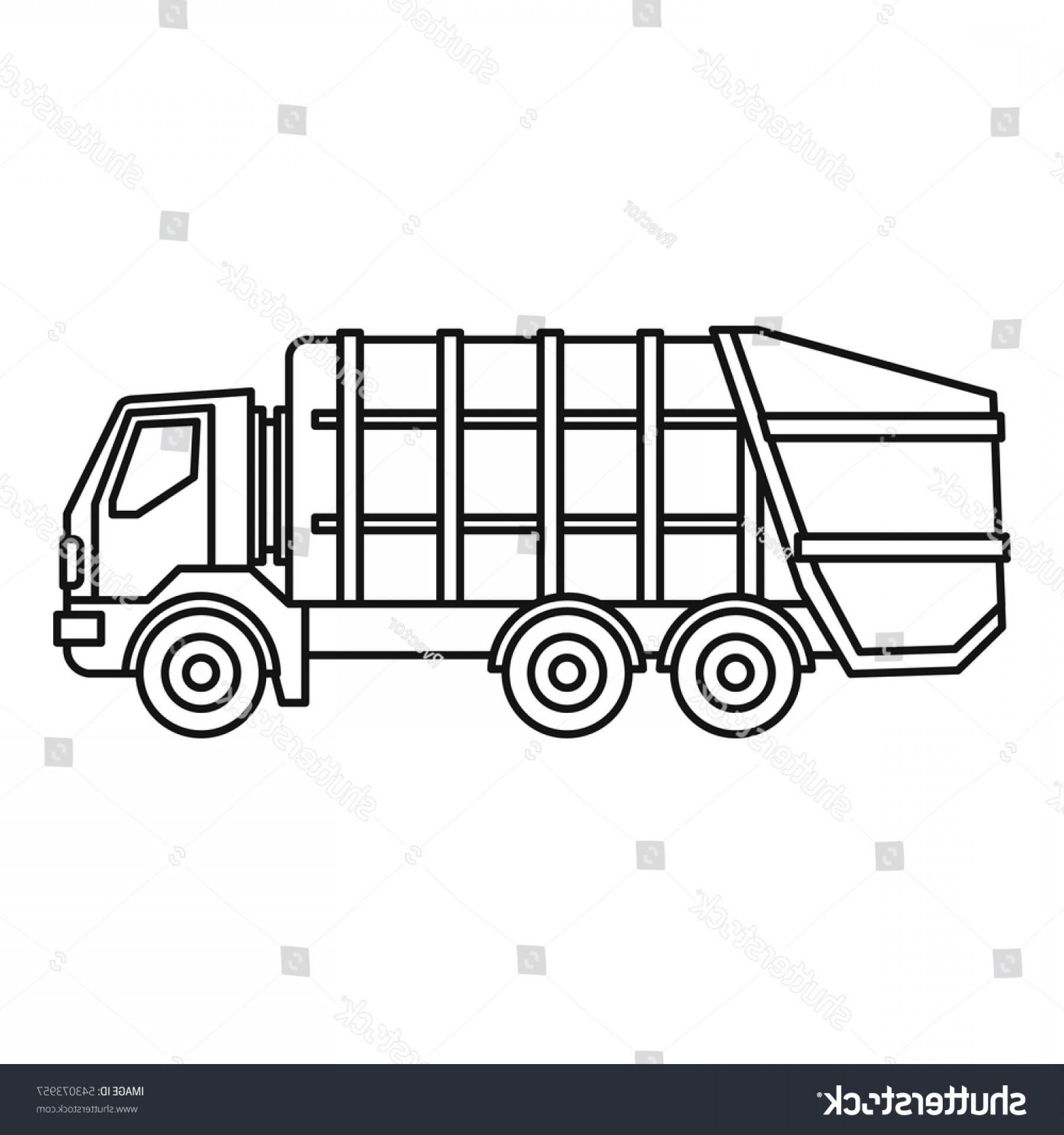 Dump Truck Vector Black And White: Garbage Truck Icon Outline Illustration Vector
