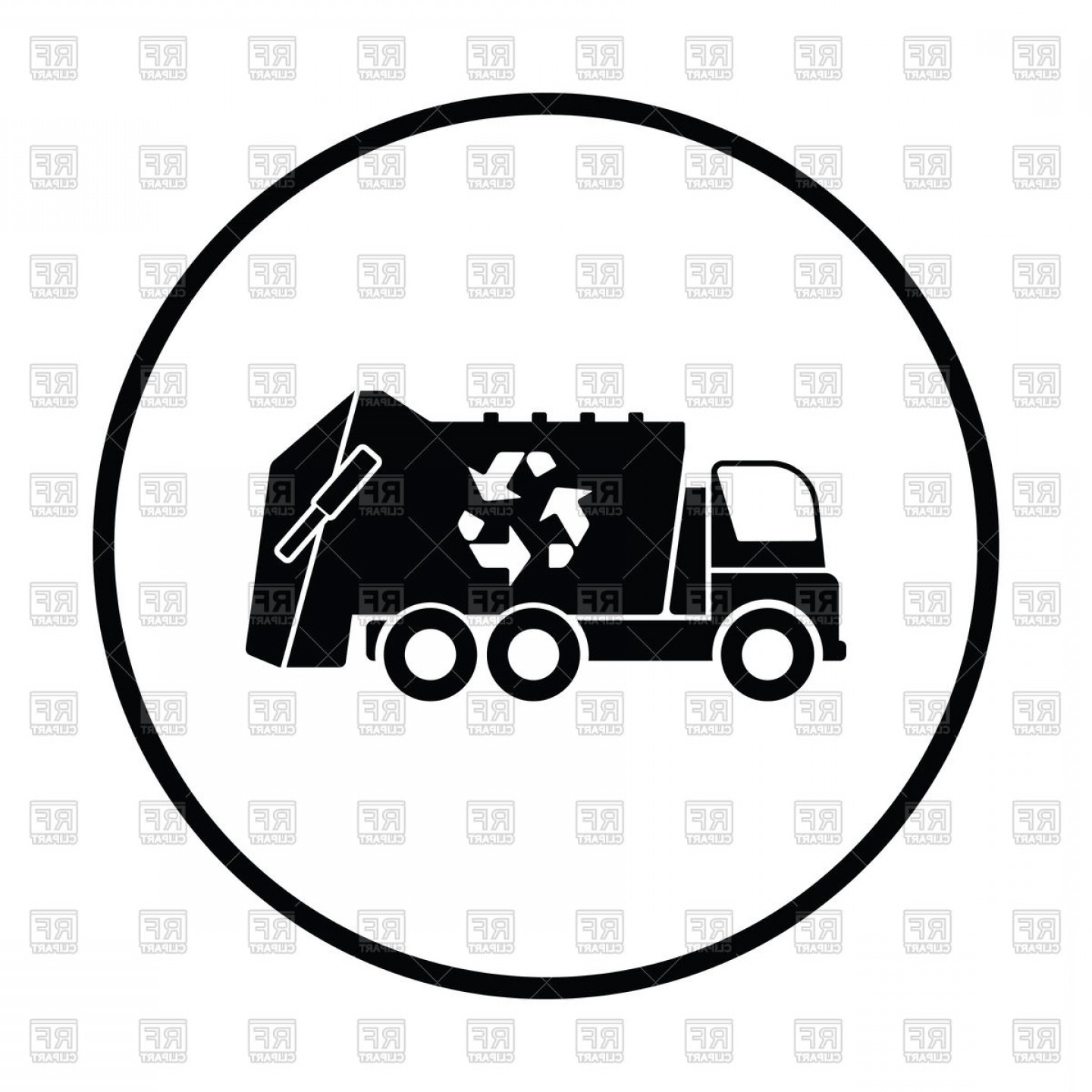 Dump Truck Vector Black And White: Garbage Truck Sanitation Car Side View Vector Clipart