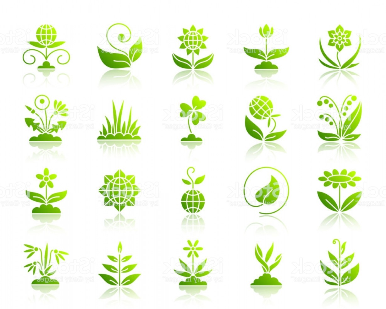Alfalfa Sprouts Vector: Garden Simple Green Gradient Icons Vector Set Gm