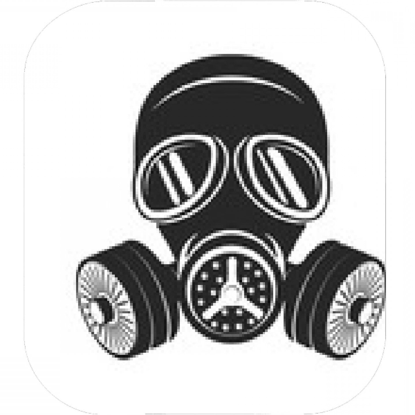 Gas Mask Suit And Tie Vector: Gas Mask Emblem On White Background Vector Illustration