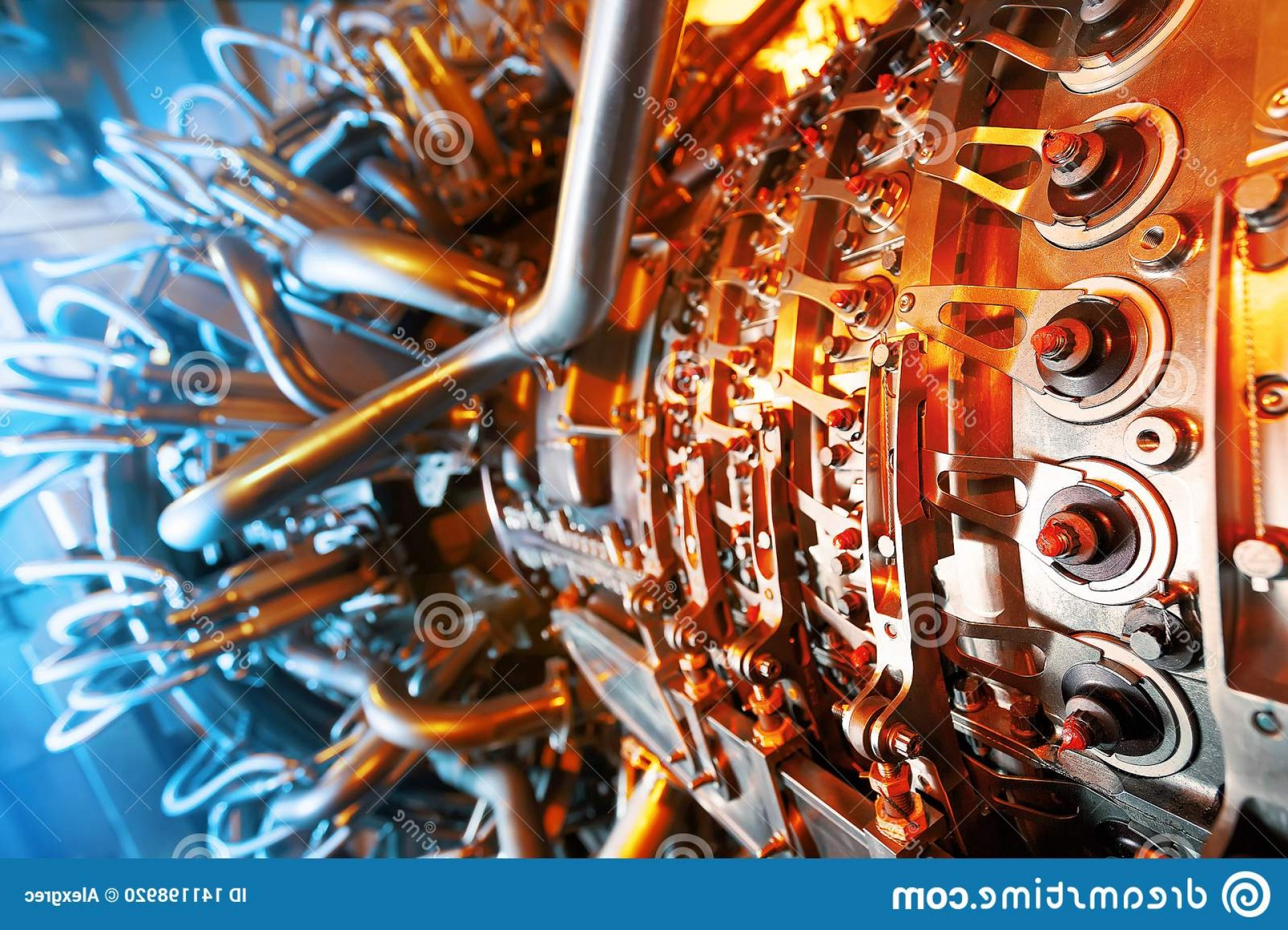 Concept Axial Vector Engine: Gas Turbine Engine Located Inside Aircraft Clean Energy Power Plant Used Offshore Oil Gas Refining Central Image